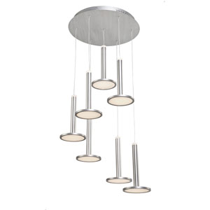 Aurora Brushed Aluminum Seven-Light LED Chandelier