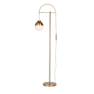 Cortina Brass and Opal Glass One-Light Floor Lamp