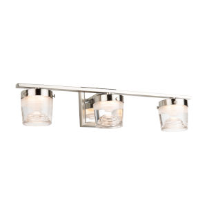 Newbury Brushed and Polished Nickel Three-Light LED Bath Vanity