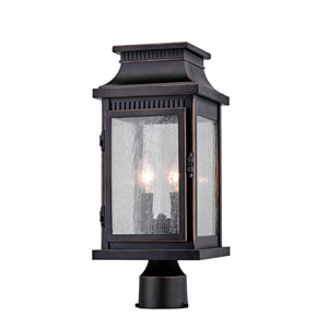 Mansard Bronze Two-Light Outdoor Post Mount