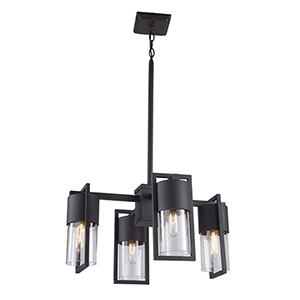 Bond Matte Black and Brass Four-Light LED Outdoor Chandelier