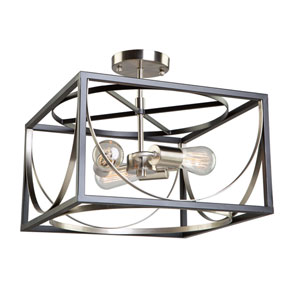 Corona Black and Polished Nickel Three-Light Semi Flush Mount
