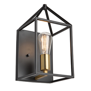 Twilight Matte Black and Harvest Brass One-Light Wall Sconce
