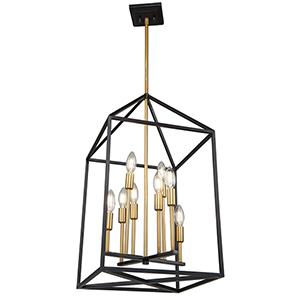 Twilight Matte Black and Harvest Brass Eight-Light Chandelier