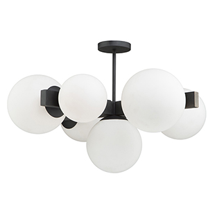 Moonglow Matte Black Seven-Light Semi Flushmount