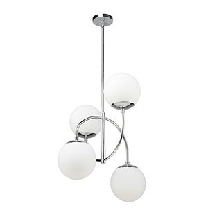 Moonglow Polished Nickel Four-Light Chandelier
