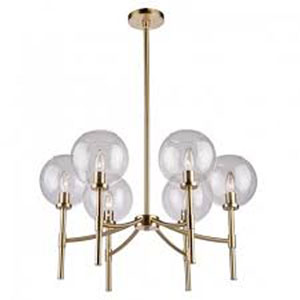 Hamilton Satin Brass Six-Light Chandelier