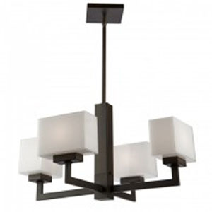 Cube Light Oil Rubbed Bronze Three-Inch Four-Light Chandelier