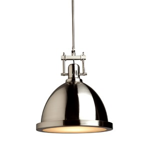 Broadview Polished Nickel One-Light 15.5-Inch Wide Dome Pendant