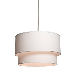 Mercer Street White Three-Light 18-Inch Wide Drum Pendant