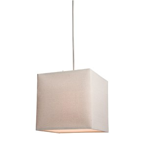 Mercer Street Oatmeal Two-Light Small Square Drum Pendant with White Linen Shade