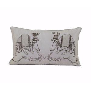 Ivory Pushkar Beaded Camel Pillow with Feather Fill