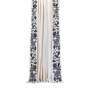 La Palais Royale Pure Silk Taffeta Dark Green Floral 108 x 42 In. Curtain Panel Pair