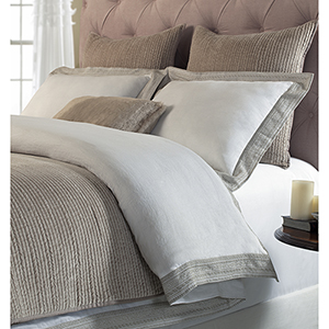 Parker White and Dune Queen Duvet Cover