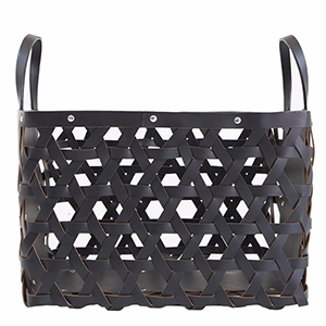 Aspen Black Small Leather Log Basket