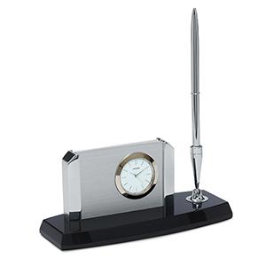 CC1004 Executive Suite Black and Silver Desk Clock