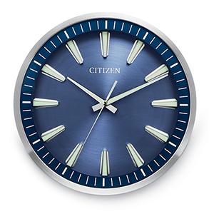 CC2010 Gallery Silver and Blue Wall Clock