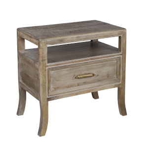Amelie Taupe and White One-Drawer End Table
