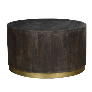 Andy Espresso Brown and Antique Brass Round Coffee Table