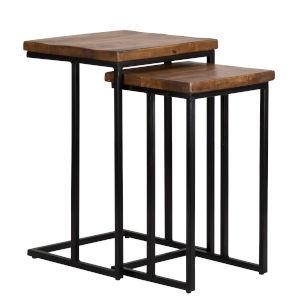 Lynda Mahogany and Black Nesting Table