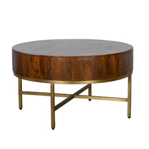 Montreal Brown and Antique Brass Round Coffee Table