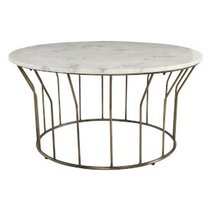 Mila White and Brass Coffee Table