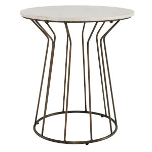 Mila White and Brass End Table