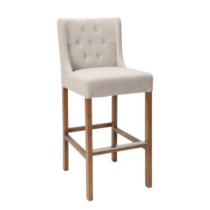 Karla French Beige and Natural Brown Bar Stool