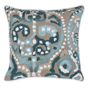 Carmen Blue Natural and Green Throw Pillow