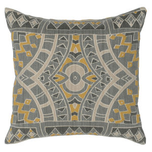 Lia Charcoal Yellow and Natural Throw Pillow