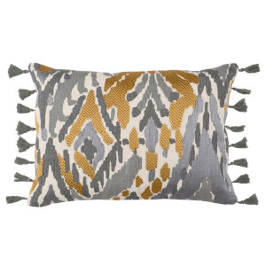 Lia Charcoal Yellow and Natural 14-Inch Throw Pillow