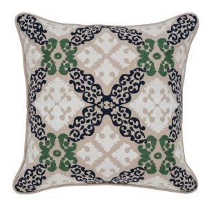 Hannah Natural Indigo and Green Throw Pillow