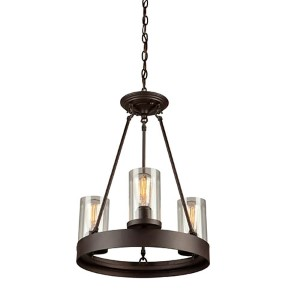 Melno Park Dark Chocolate Three-Light 17.5-Inch Wide Mini Chandelier