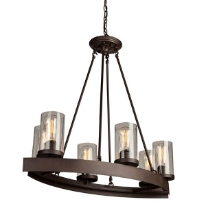 Melno Park Dark Chocolate Six-Light 31.5-Inch Wide Chandelier
