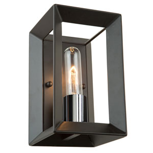 Vineyard Black and Chrome One-Light Wall Sconce