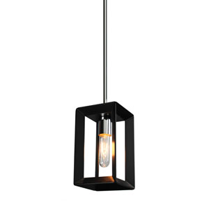 Vineyard Black and Chrome One-Light Mini Pendant
