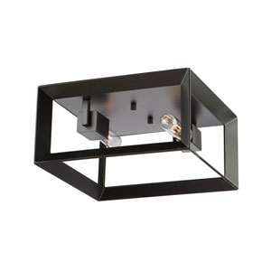Vineyard Matte Black Two-Light Flush Mount