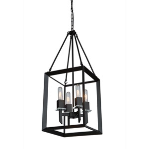Vineyard Matte Black Four-Light Pendant