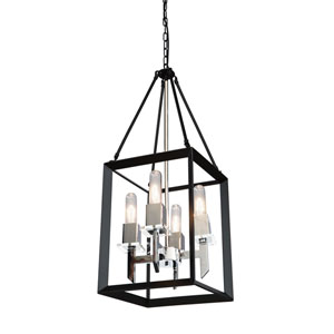 Vineyard Black and Chrome Four-Light Chandelier