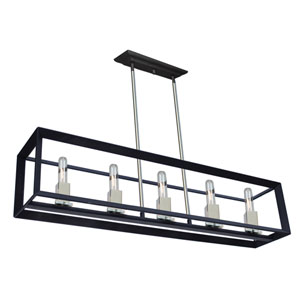 Vineyard Black and Chrome Five-Light Island Pendant