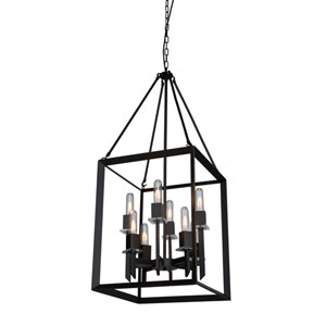 Vineyard Matte Black 16-Inch Eight-Light Pendant