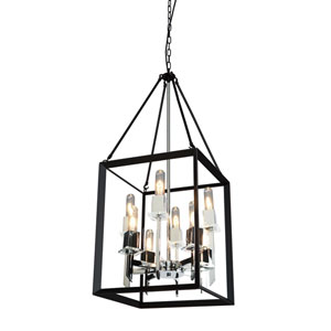 Vineyard Black and Chrome 16-Inch Eight-Light Chandelier