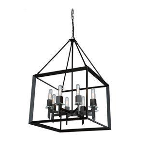 Vineyard Matte Black 20-Inch Eight-Light Pendant