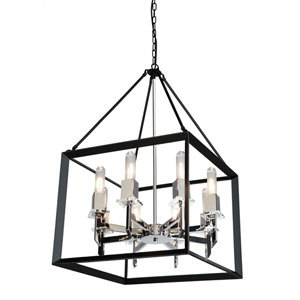 Vineyard Black and Chrome 20-Inch Eight-Light Chandelier