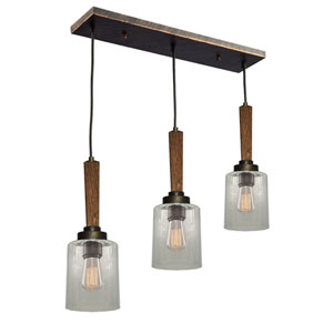 Legno Rustico Burnished Brass Three-Light Linear Pendant