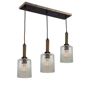Legno Rustico Brunito Three-Light Linear Pendant