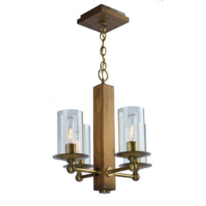 Legno Rustico Burnished Brass Four-Light Chandelier