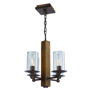 Legno Rustico Brunito Four-Light Chandelier