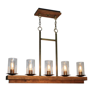 Legno Rustico Burnished Brass Five-Light Chandelier