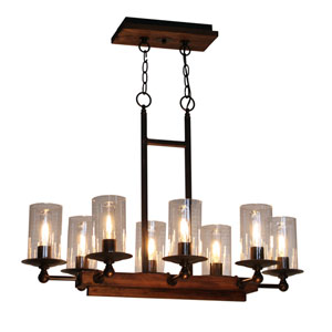 Legno Rustico Brunito Eight-Light Chandelier